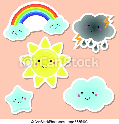 cute weather and sky elements kawaii sun rainbow clouds vector