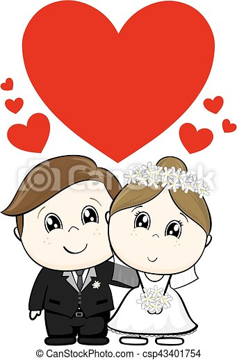 cute wedding characters - csp43401754