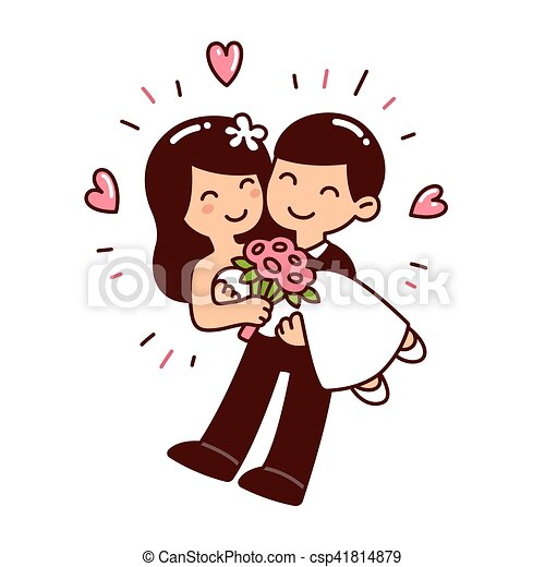 Cute Wedding Couple Cute Asian Wedding Couple In Western Style Clothes Cartoon Vector Illustration