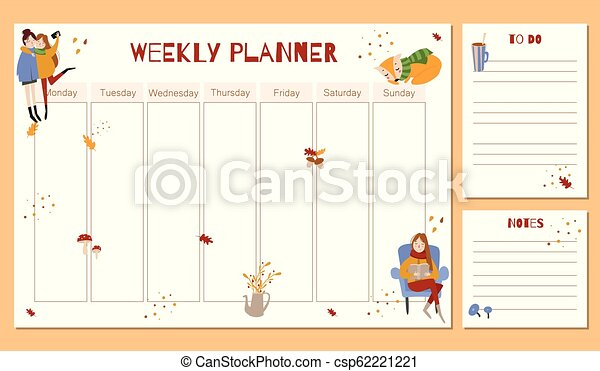 Cute Weekly Planner with autumn hand drawn elements