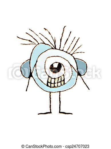 Cute Weird Caricature Raster Illustration - csp24707023