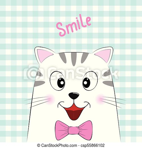 Cute white cat with the inscription Smile. - csp55866102