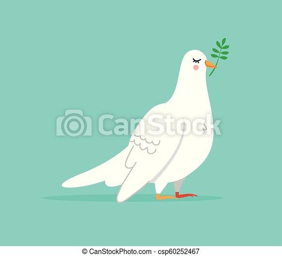 Cute White Dove Bird Illustration Isolated