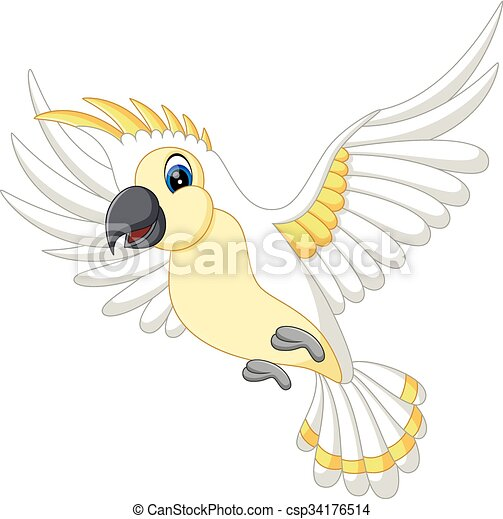 Cute white parrot flying - csp34176514
