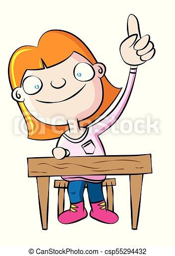 cute white school girl raise hand in class vector vectors rh canstockphoto com raise hand clipart raise your hand clipart