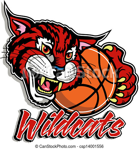 cute wildcat with basketball rh canstockphoto com free wildcat football clipart