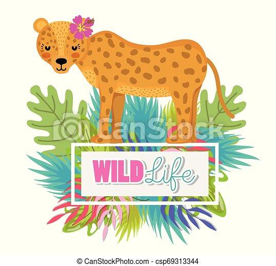 Cute wildlife animals cartoons - csp69313344