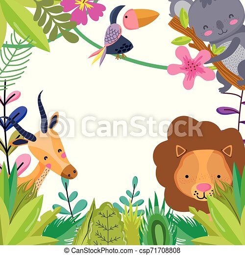 Cute wildlife animals cartoons - csp71708808
