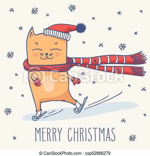 cute winter christmas cat merry christmas greeting card with cute