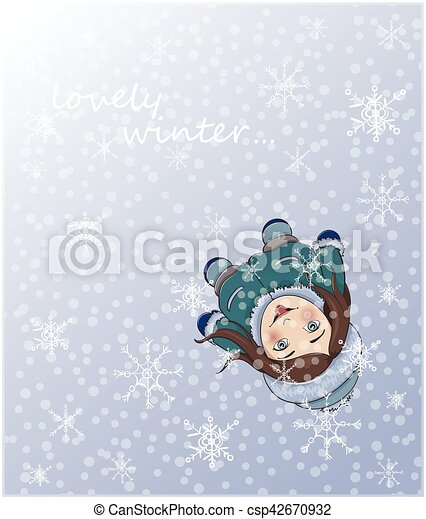 cute winter girl catching snowflakes with tongue plan view
