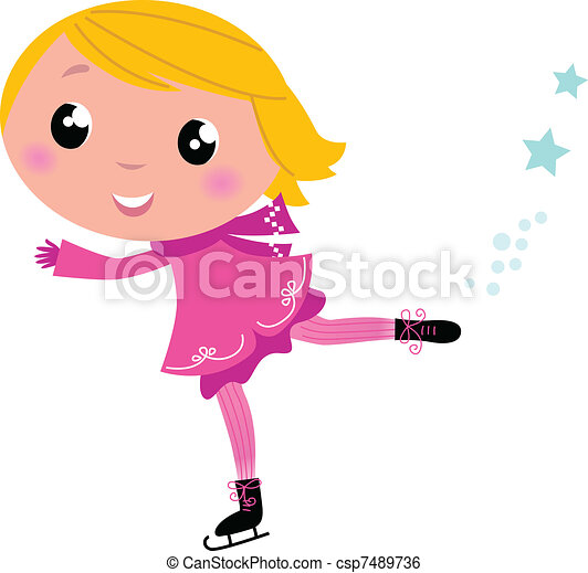 Cute winter ice skating Girl isolated on white   - csp7489736