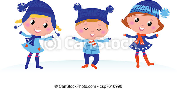 cute winter kids group isolated on white collection of cute winter