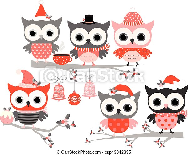 cute winter owl birds in red and grey colors kawaii vector owls on