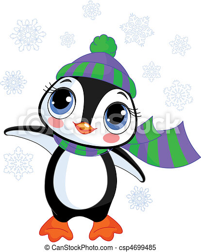 Cute winter penguin with hat and s - csp4699485