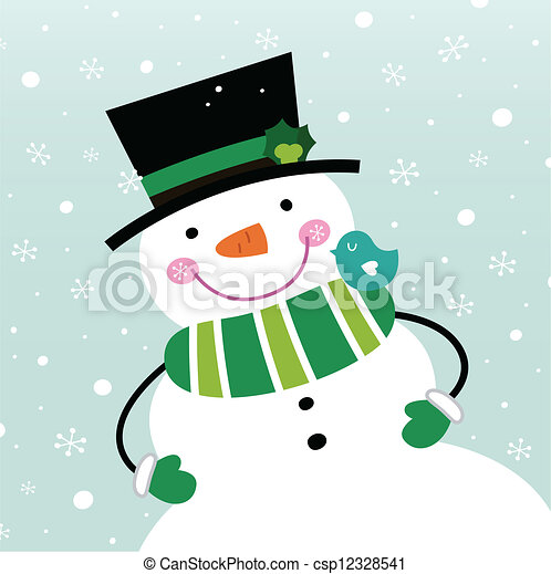 Cute winter Snowman isolated on snowing background - csp12328541