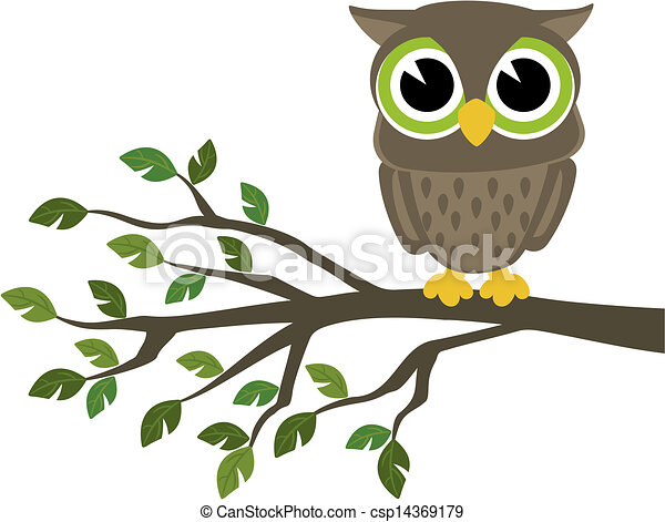 cute wise owl cartoon - csp14369179