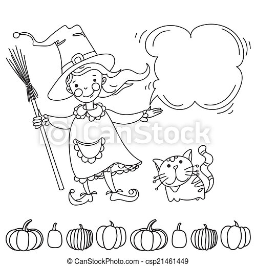 Cute witch. Banner for your design - csp21461449
