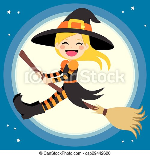 Cute Witch Flying With Broom - csp29442620