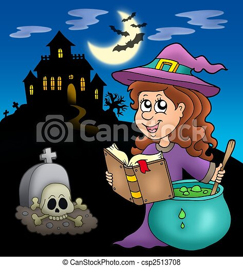 Cute witch with potion and mansion - csp2513708