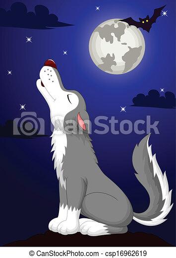 Cute wolf cartoon fowling - csp16962619