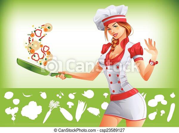 Cute woman cook - csp23589127