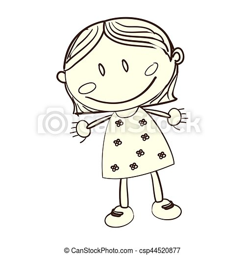 cute woman drawing icon - csp44520877
