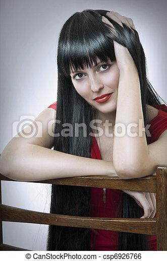 cute, woman., morena, moda, retrato - csp6926766