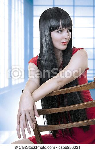 cute, woman., morena, moda, retrato - csp6956031