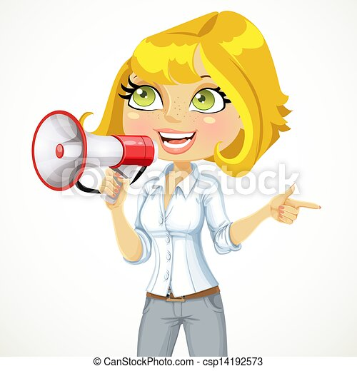 Cute woman talking into a megaphone and shows her hand in the direction of something important - csp14192573