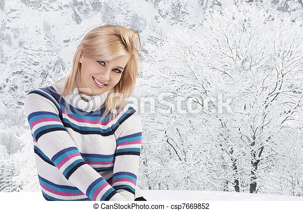 cute woman with wool sweater - csp7669852