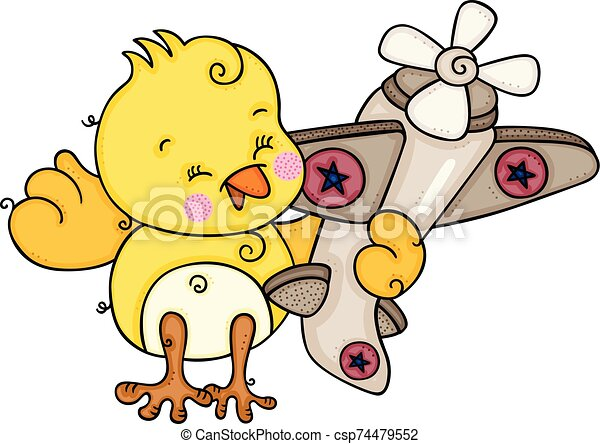 Cute Yellow Bird Playing With Little Airplane Scalable Vectorial Representing A Cute Yellow Bird Playing With Little