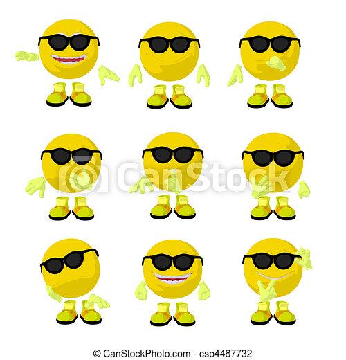 Cute Yellow Emoticon Art Illustration - csp4487732