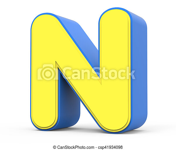 cute yellow letter n. right leaning 3d rendering cute yellow