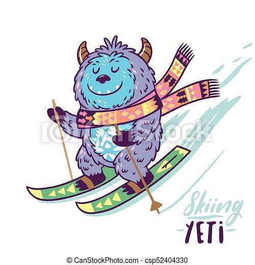 Cute yeti skiing print. vector illustration. Fun yeti ...