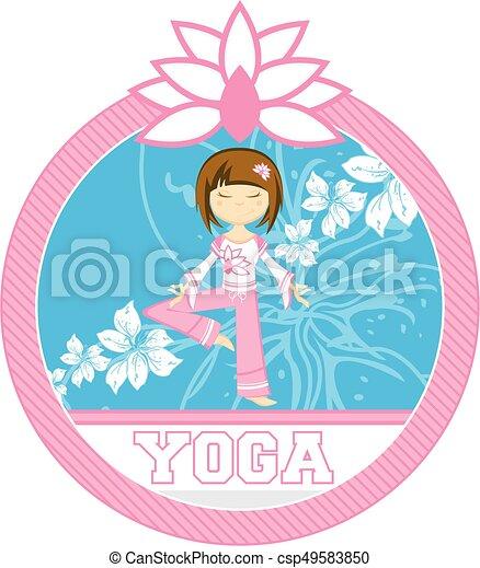Cute Yoga Girl And Flower Cartoon Yoga Girl With Lotus Flower Vector Illustration