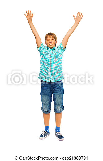 Cute young boy on a white background - csp21383731
