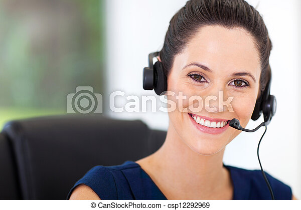 cute young business call center operator  - csp12292969