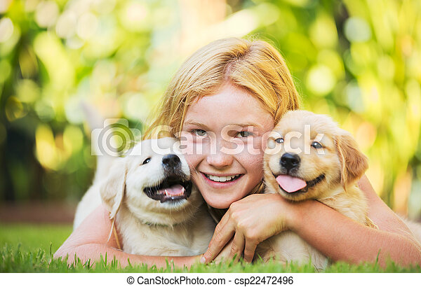 Cute Young Girl with Puppies - csp22472496