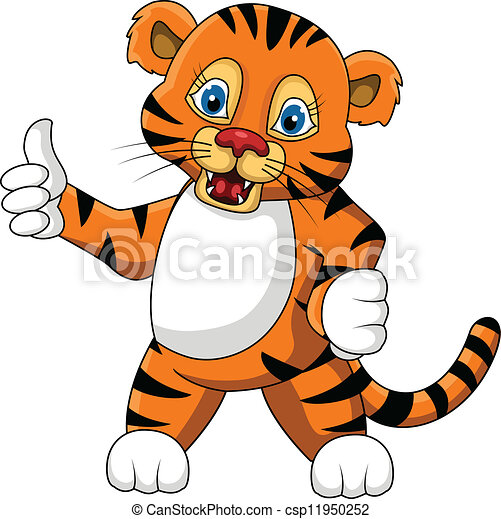 vector illustration of cute young tiger cartoon expression clipart rh canstockphoto com