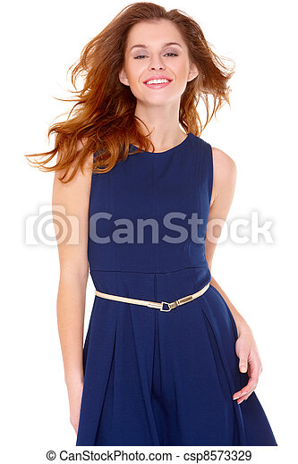 e537863ee Cute young woman in navy blue dress on white - csp8573329