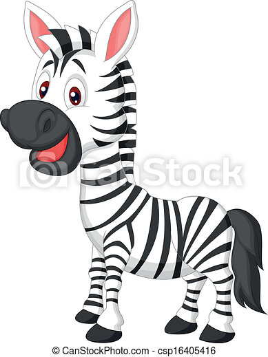 Cute zebra cartoon  - csp16405416