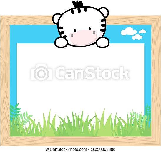 Cute zebra frame. Wood frame with cute baby zebra and blank board ...