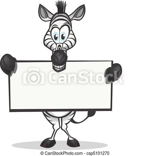 Cute Zebra holding sign - csp5101270
