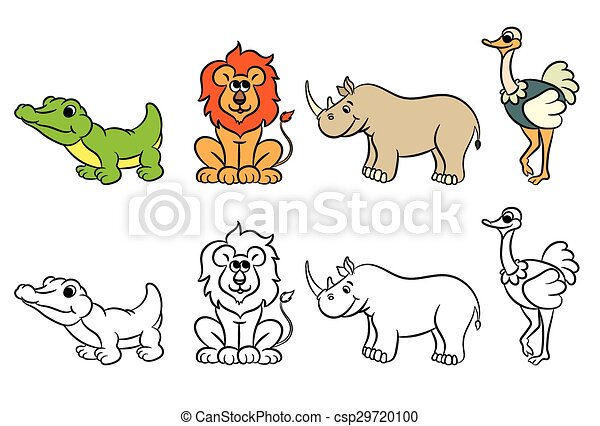 Cute zoo animals collection. coloring book. vector illustration.