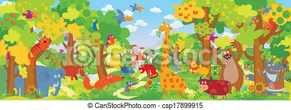 Cute zoo animals vector illustration