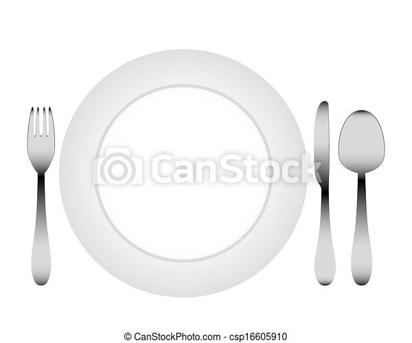 cutlery and a white plate  - csp16605910