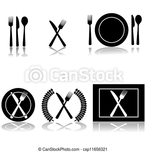 Cutlery and plate icons - csp11656321