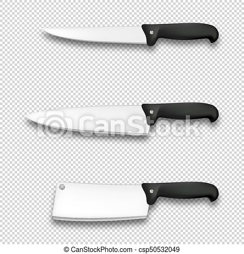 Cutlery Icon Set Vector Realistic Diffrent Kitchen Knives Closeup Isolated On Transparent Background Design Template For Branding Mockup Eps10