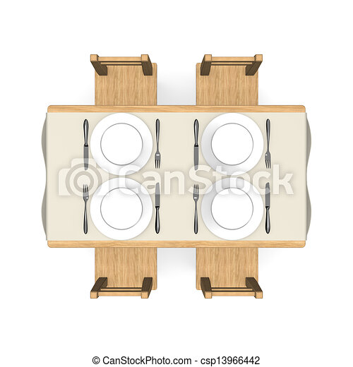 Cutlery On Wooden Dining Table Top View 3d Render