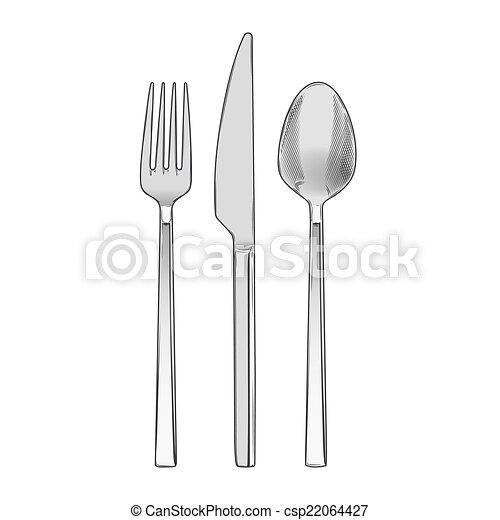 Cutlery set of fork knife and spoon - csp22064427